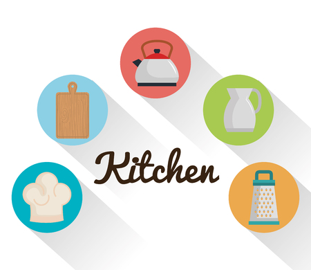 colorful kitchen utensils icons over white background vector illustration Illusztráció