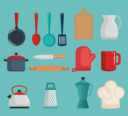 Colorful kitchenware set over teal background vector illustration Иллюстрация