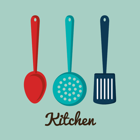 Kitchen utensils over blue background vector illustration Ilustração