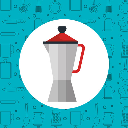 prepare: Expresso coffee pot over blue background with hand drawn utensils
