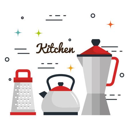Keukengerei over witte achtergrond vectorillustratie