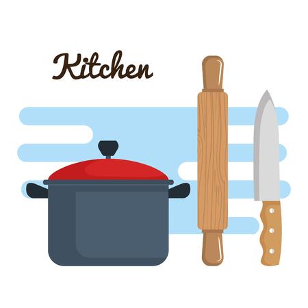 kleurrijk keukengerei over witte vectorillustratie als achtergrond