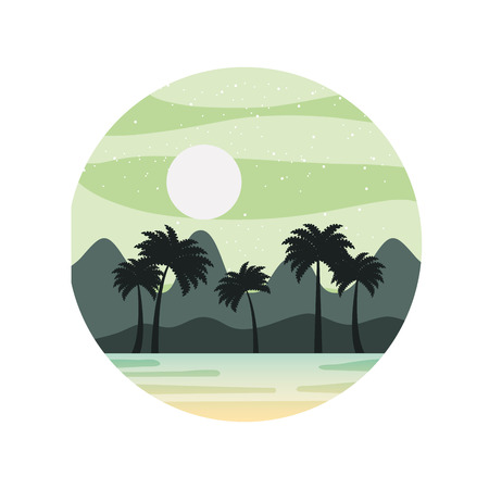 beautiful seascape with palms vector illustration design Stock Vector - 82353468