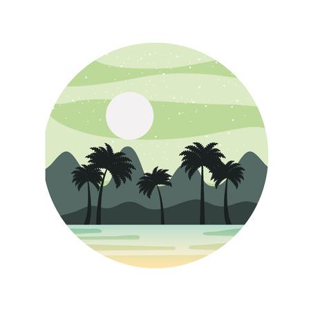 Mooi zeegezicht met palmen vector illustratie ontwerp Stock Illustratie