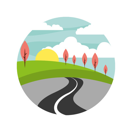 beautiful landscape with way vector illustration design