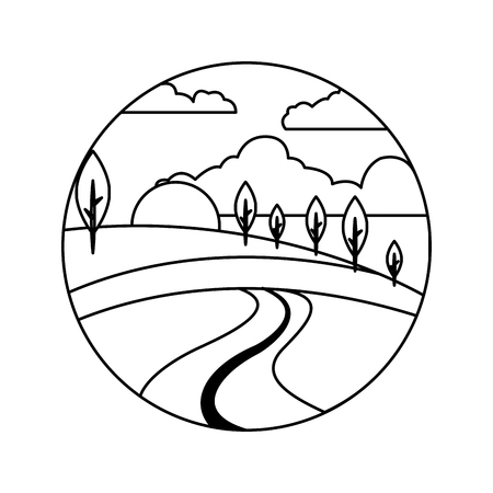 beautiful forest landscape icon vector illustration design