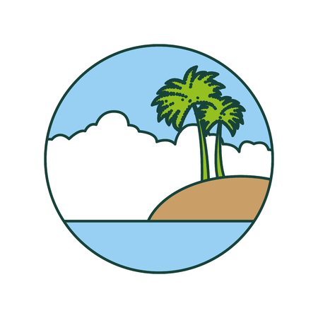 beautiful seascape with palms vector illustration design