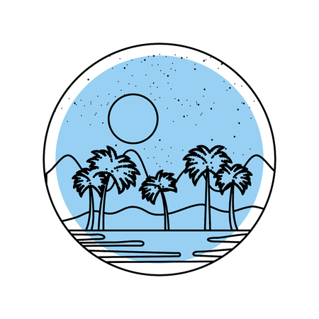 beautiful seascape with palms vector illustration design Stock Vector - 82354896