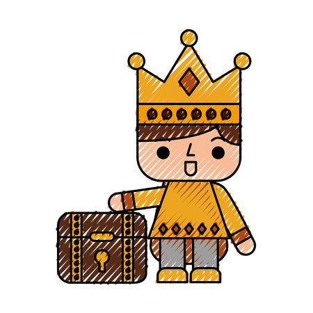 rey caricatura: Video game prince with treasure chest avatar vector illustration design Vectores