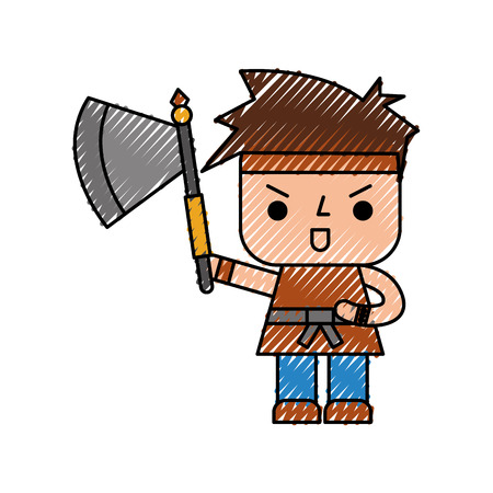 Avatar of a video game warrior with ax vector illustration design