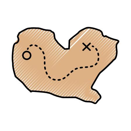 Schatkaart spel icoon vector illustratie ontwerp