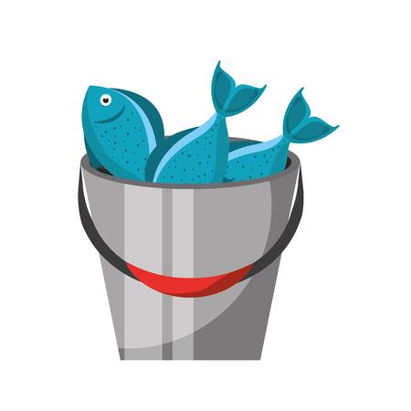 Vissend emmer met ontwerp van de vissen het vectorillustratie