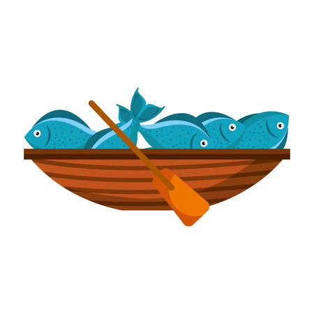 Fishing canoe with fish vector illustration design