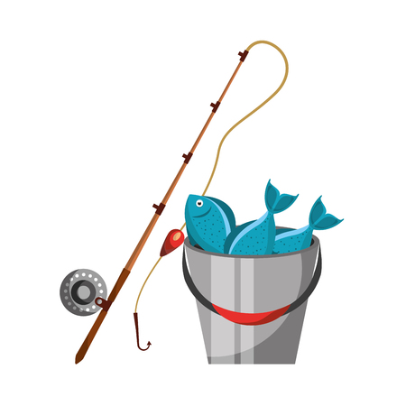 Fishing bucket with rod vector illustration design Иллюстрация