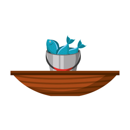 Fishing bucket with boat vector illustration design