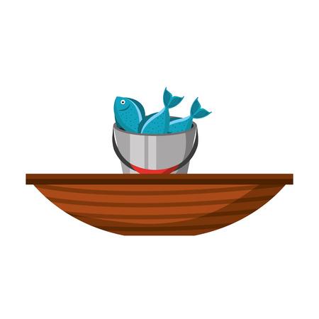 Fishing bucket with boat vector illustration design