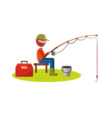 fisherman fishing avatar character vector illustration design