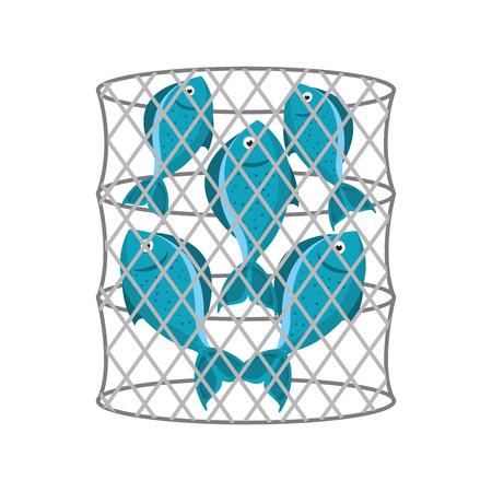 Trampa de peces icono aislado diseño de ilustración vectorial Foto de archivo - 82356895