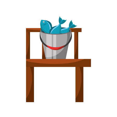 Fishing bucket with wooden pier vector illustration design 向量圖像