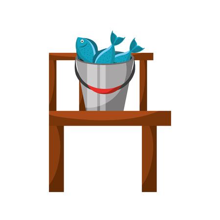 Fishing bucket with wooden pier vector illustration design Illustration
