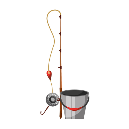 Fishing bucket with rod vector illustration design Illustration