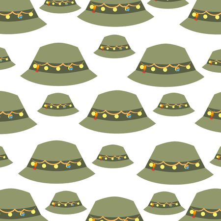 fisher hat pattern background vector illustration design