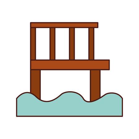 Jetée en bois isolé icône vector illustration design Banque d'images - 82357044