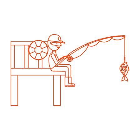 fisherman in wooden pier avatar character vector illustration design