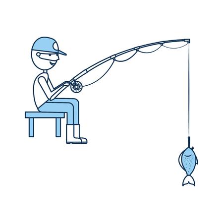 Pêcheur dans le bois de conception de l & # 39 ; avatar de bois avatar illustration vectorielle Banque d'images - 82358275