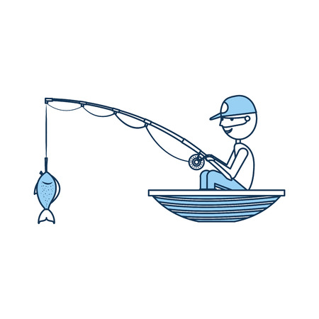 fisherman fishing in the boat avatar character vector illustration design