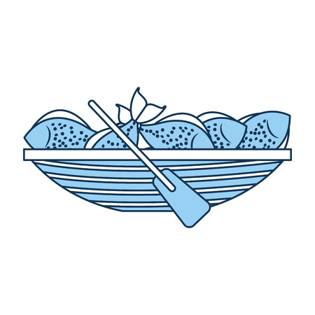 Fishing canoe with fish vector illustration design
