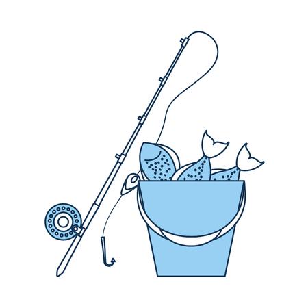 釣りロッド ベクトル イラスト デザインのバケツ  イラスト・ベクター素材