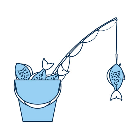 Fishing bucket with rod vector illustration design Ilustracja