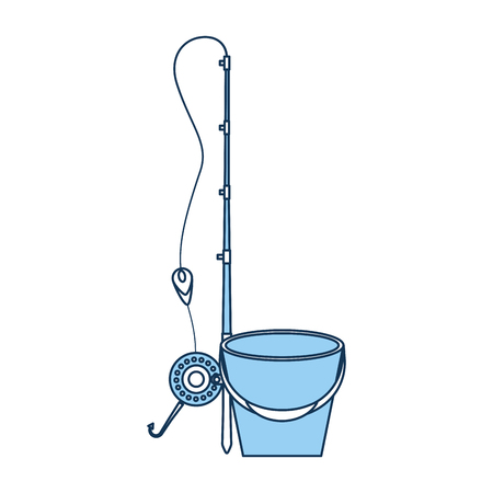 Fishing bucket with rod vector illustration design 向量圖像