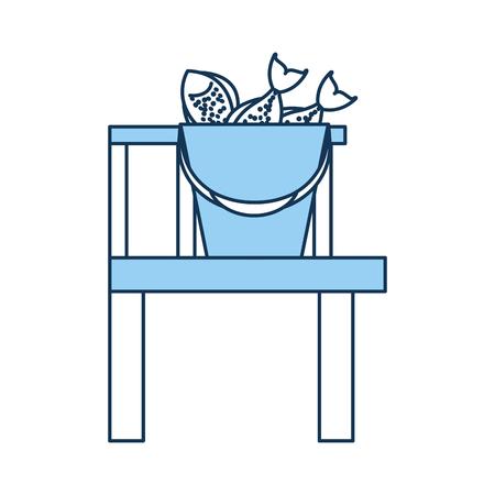 Fishing bucket with wooden pier vector illustration design Иллюстрация