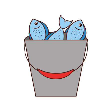 Fishing bucket with fishs vector illustration design