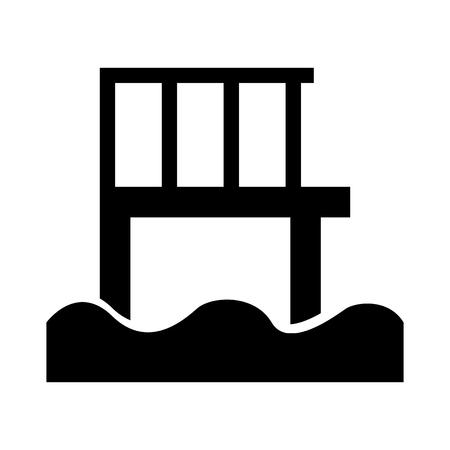Houten pier geïsoleerd pictogram vector illustratie ontwerp Stock Illustratie