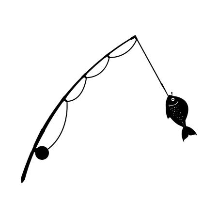 Canne de pêche isolé icône du design illustration vectorielle Banque d'images - 82358626