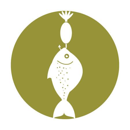 물고기 후크 격리 된 아이콘 벡터 일러스트 레이 션 디자인 일러스트