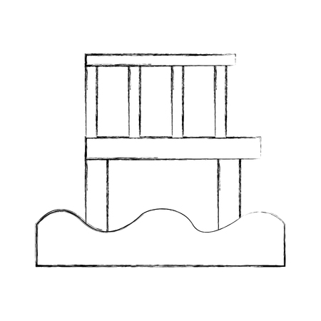 Molo di legno isolato icona illustrazione vettoriale di progettazione Archivio Fotografico - 82358880