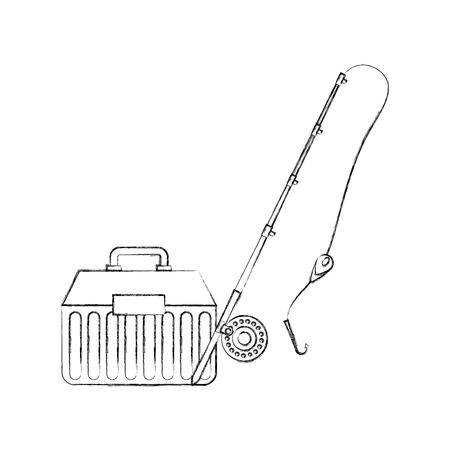 Fishing bucket with rod vector illustration design Illustration
