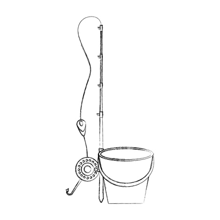 Fishing bucket with rod vector illustration design Иллюстрация