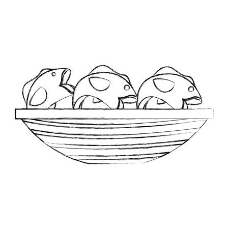 釣り魚ベクトル イラスト デザインとカヌー