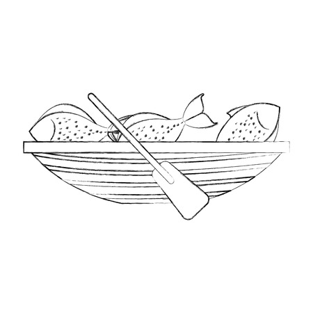 Vissen kano met vis vector illustratie ontwerp