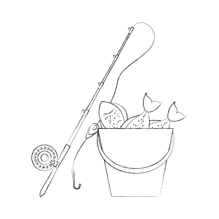 Vissers emmer met staaf vector illustratie ontwerp