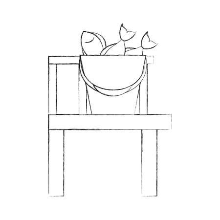 목조 부두 벡터 일러스트 디자인 낚시 양동이