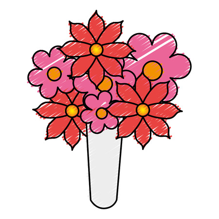 cute bouquet of flowers vector illustration design Illustration