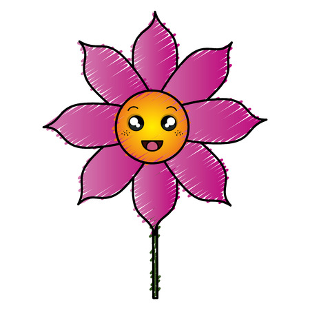 detailed image: cute flower decorative kawaii character vector illustration design Illustration