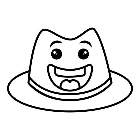 gentleman hat kawaii character vector illustration design Illustration