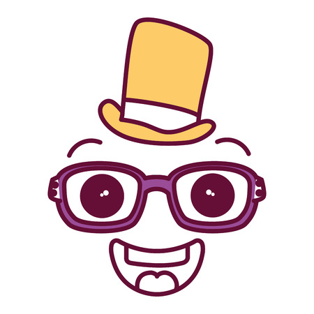 asian business: face kawaii with glasses and hat character vector illustration design Illustration